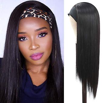 Synthetic headband wig long straight wigs  heat resistant synthetic fiber hair women's wig