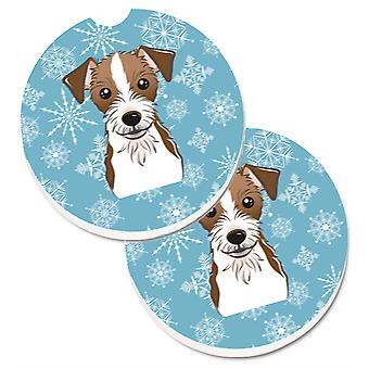 Caroline's Treasures Fiocco di neve Jack Russell Terrier Set di 2 cup holder Car Coasters BB1636CARC, 2.56, Multicolor