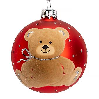 Single 8cm Red Teddy Bear Design Mouth Blown Glass Christmas Tree Bauble Decoration