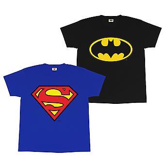 DC Comics Batman en Superman Meisjes T-Shirt Twin Pack | Officiële Merchandise