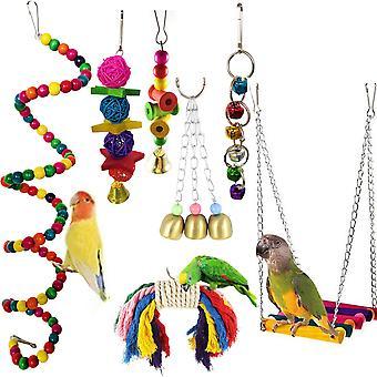 10/7 Pack Vogelkäfig Spielzeug für Papageien Zuverlässige & Kaubare Schaukel Hängende Kaubiss Brücke Holzperlen Ball Bell Spielzeug