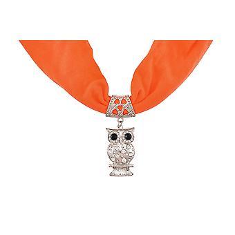 Neon oransje Rhinestone ugle anheng skjerf smykker