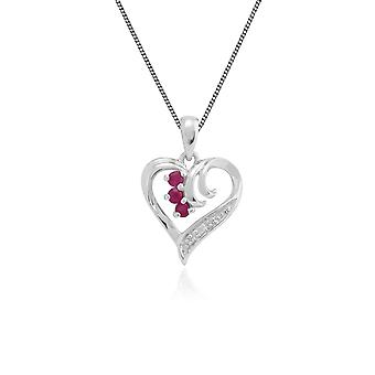 Classic Round Ruby & Diamond Swirled Heart Pendant Necklace in 9ct White Gold 162P0155019