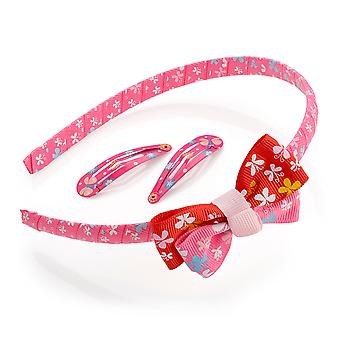 Girls Three Piece Butterfly Print Snap Clip & Alice Band Set Pink Tones