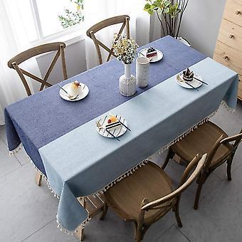 Spleißen Staubdichte Tischdecke, rechteckige Tischdecke, EichelDekoration Garten Tee Tisch Ornamente (140 * 140cm, Dunkelblau und Hellblau)