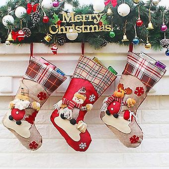 Socke Geschenktüte Süßigkeitenbeutel Tasche mit Buffalo Plaid, Weihnachtsmann, Schneemann, Rentier