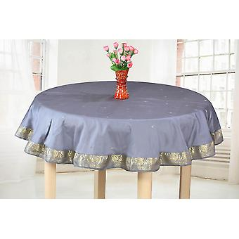 Dark Gray - Handmade Sari Tablecloth (India) - Round