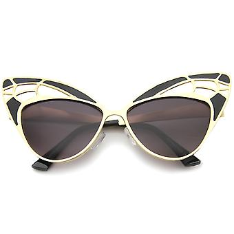 Womens High Fashion Metal Cutout Oversize Butterfly Sunglasses 55mm