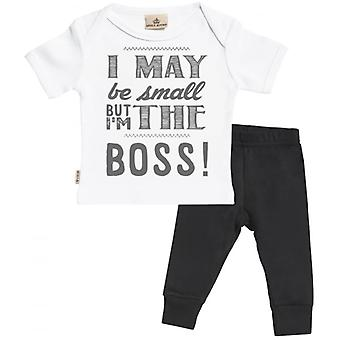 Spoilt Rotten May Be But I'm The Boss Baby T-Shirt & Baby Jersey Trousers Outfit Set