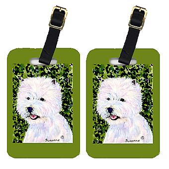 Carolines tesori SS8818BT coppia di 2 Westie Luggage Tags