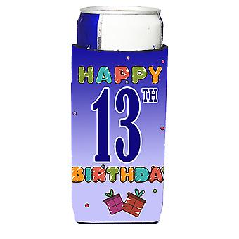 Happy 13th Birthday Ultra Beverage Insulators for slim cans