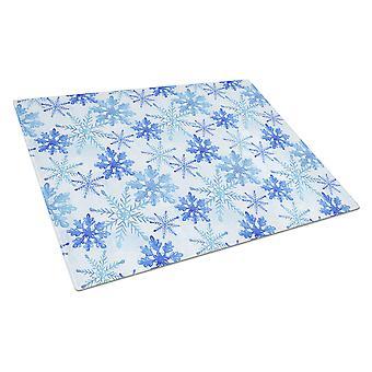 Tabla de cortar de vidrio acuarela los copos de nieve azul grande