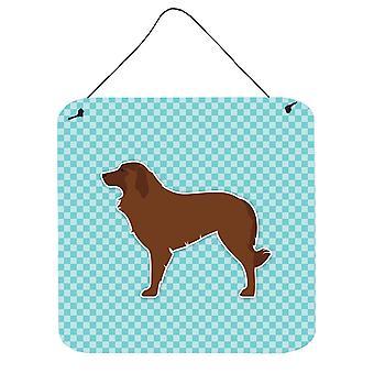 الراعي البرتغالية الكلب رقعة الداما الأزرق الجدار أو الباب معلقة يطبع