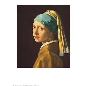 נערה עם הפוסטר העגיל פנינה הדפס על ידי יוהנס ורמר (24 x 30)