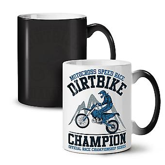 Motorbike Dirt Race Biker NEW Black Colour Changing Tea Coffee Ceramic Mug 11 oz | Wellcoda