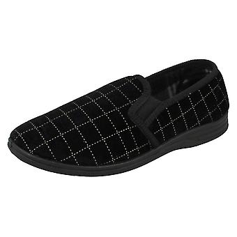 Mens Spot On Check Casual Slippers - Black Textile - UK Size 9 - EU Size 43 - US Size 10