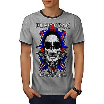 Morte de Funk Rock caveira homens Heather Grey / Heather escuro GreyRinger t-shirt | Wellcoda