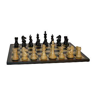 Sort Pro skakspil med sort/Birdseye Maple bestyrelse