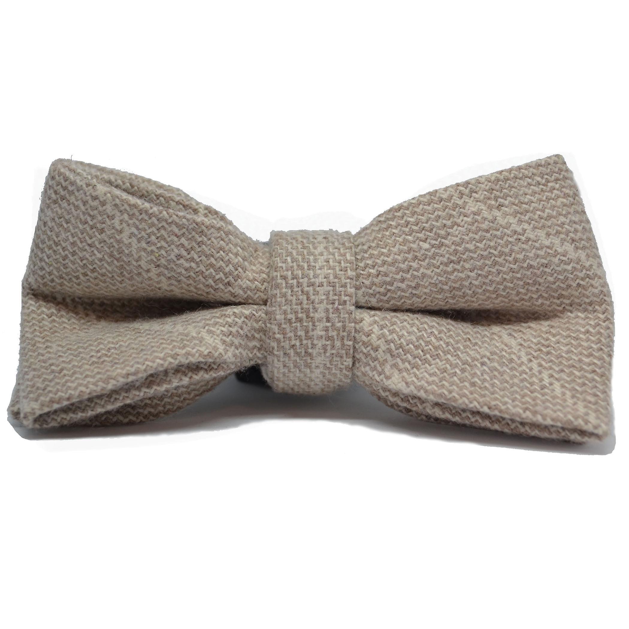 Beige Birdseye Check Bow Tie & Pocket Square Set