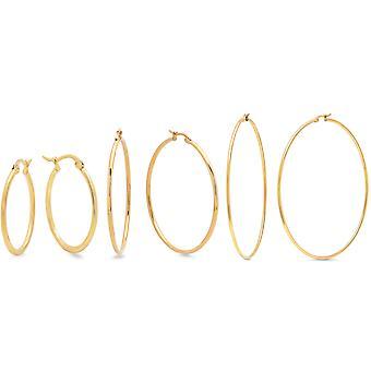 Ladies Set Of 3 18K Gold Plated Stainless Steel Hoop Earrings