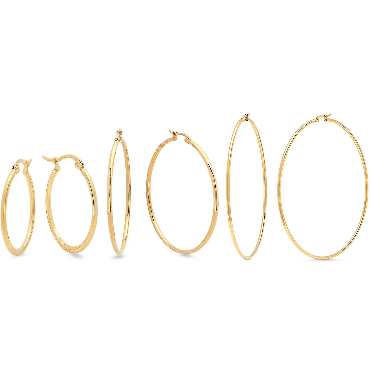 Ladies Set Of 3 18K Gold Plated Stainless Steel Hoop Earrings