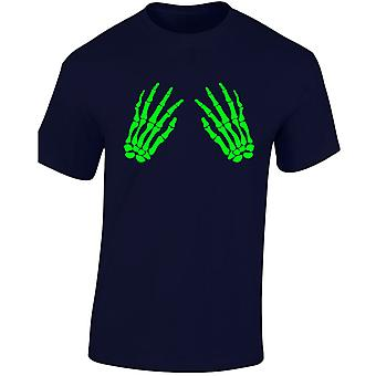 Skeleton Hands Front Glow In The Dark Costume Fancy Dress Halloween Kids Unisex T-Shirt 8 Colours (XS-XL) by swagwear