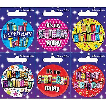 Simon Elvin olika födelsedag små märken (förpackning med 6)
