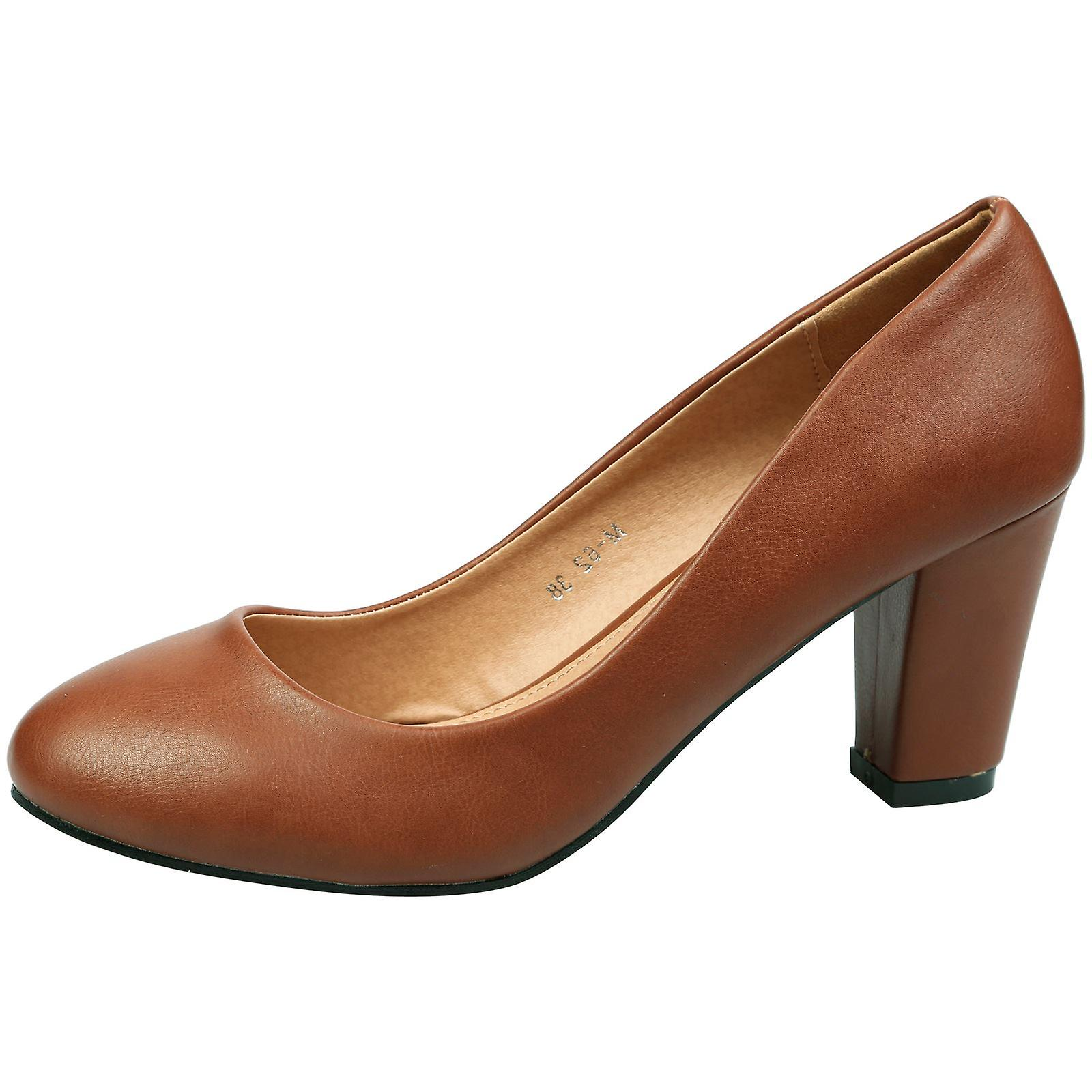 Reeva Womens Mid Block Heel Slip On Court Shoes