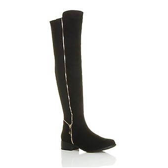 Ajvani womens högt över knä elastiska kurvig sträcka pull på låg klack stövlar