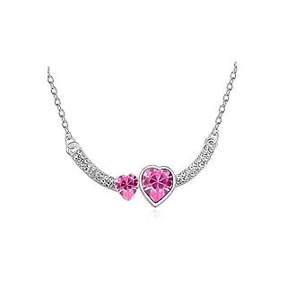 Womens Double Heart Love Pink Crystal Pendant Necklace