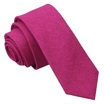 Tumma fuksia Hopsack pellava laiha solmio