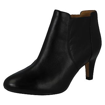 Ladies Clarks Ankle Boots - Lily Bordeaux - Black Leather - UK Size 5.5D - EU Size 39 - US Size 8M