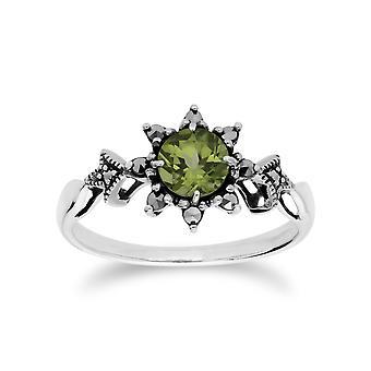 Sterling Silver Peridot & Markasit augusti Art Nouveau stil Ring