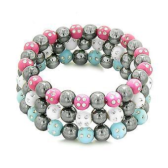 Amulettes Set 3 cristaux perles Hematite simulé Bracelets magnétique blanc bleu chaud rose pétillant