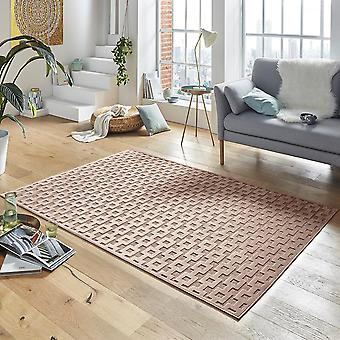 Design viscose rug Bouton in relief appearance copper Brown