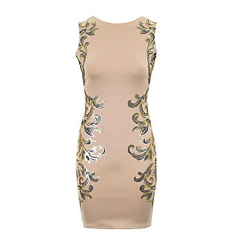 Senhoras ouro Floral em relevo folha impressão Bodycon lombar Zip vestido de festa feminina