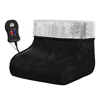 Svart elektrisk uppvärmd fot Massager Comfort varmare Fleece mocka Comfort fötter