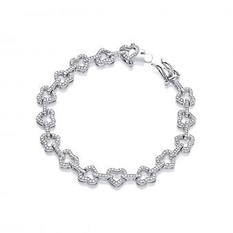 Cavendish French Yours Forever Silver and CZ Hearts Bracelet