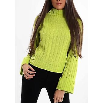 Cropped Knitted Turtleneck Jumper Neon Green