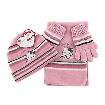 Hello Kitty hattu huivi lapaset-vaaleanpunainen