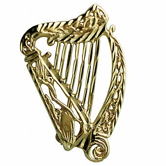 9ct Gold 29x19mm diamond cut Irish Harp Brooch