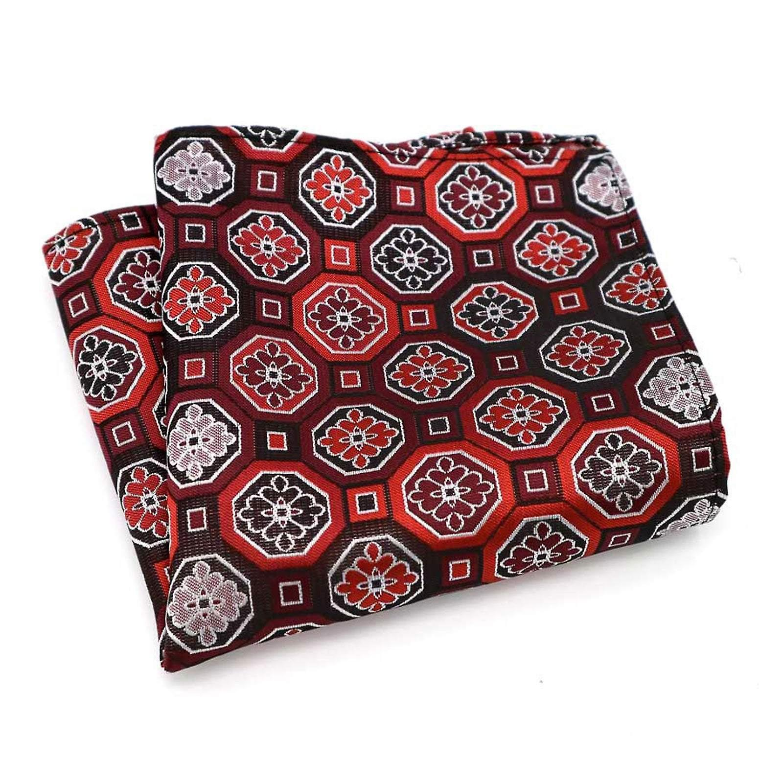 Red geo pattern men's handkerchief party pocket square