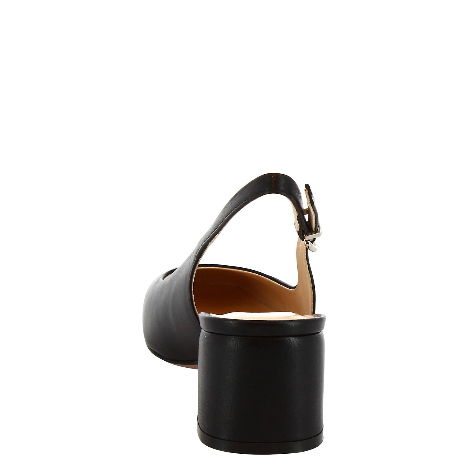 Leonardo Shoes Women's handmade slingback pumps shoes in black calf leather