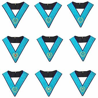 Memphis Misraim Officer Collars Machine Embroidery Set-Set von 9 Collar