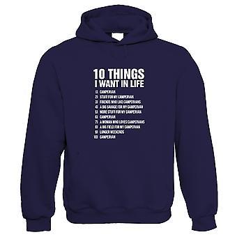 10 coisas que eu quero na vida campista, Campervan Hoodie Engraçado - Automobilismo Presente-lhe