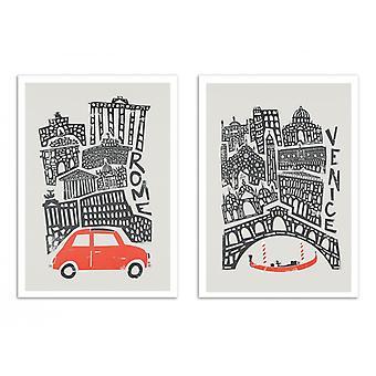 2 Plakaty artystyczne - Rzym i Wenecja - Lis i aksamit