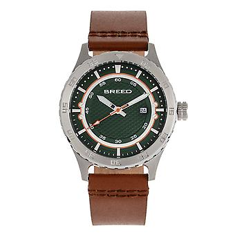 Breed Mechanic Leather-Band Watch w/Date - Green