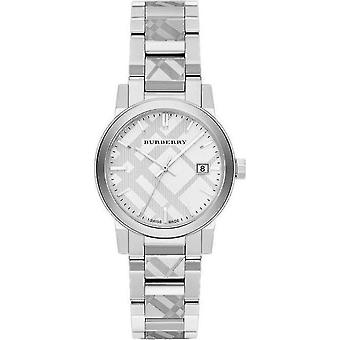 Burberry Bu9144 hopea Tarkista Stainlkess Steel Ladies Watch