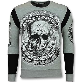 Rhinestone Sweater - Skull Dollar Sweater - Grey
