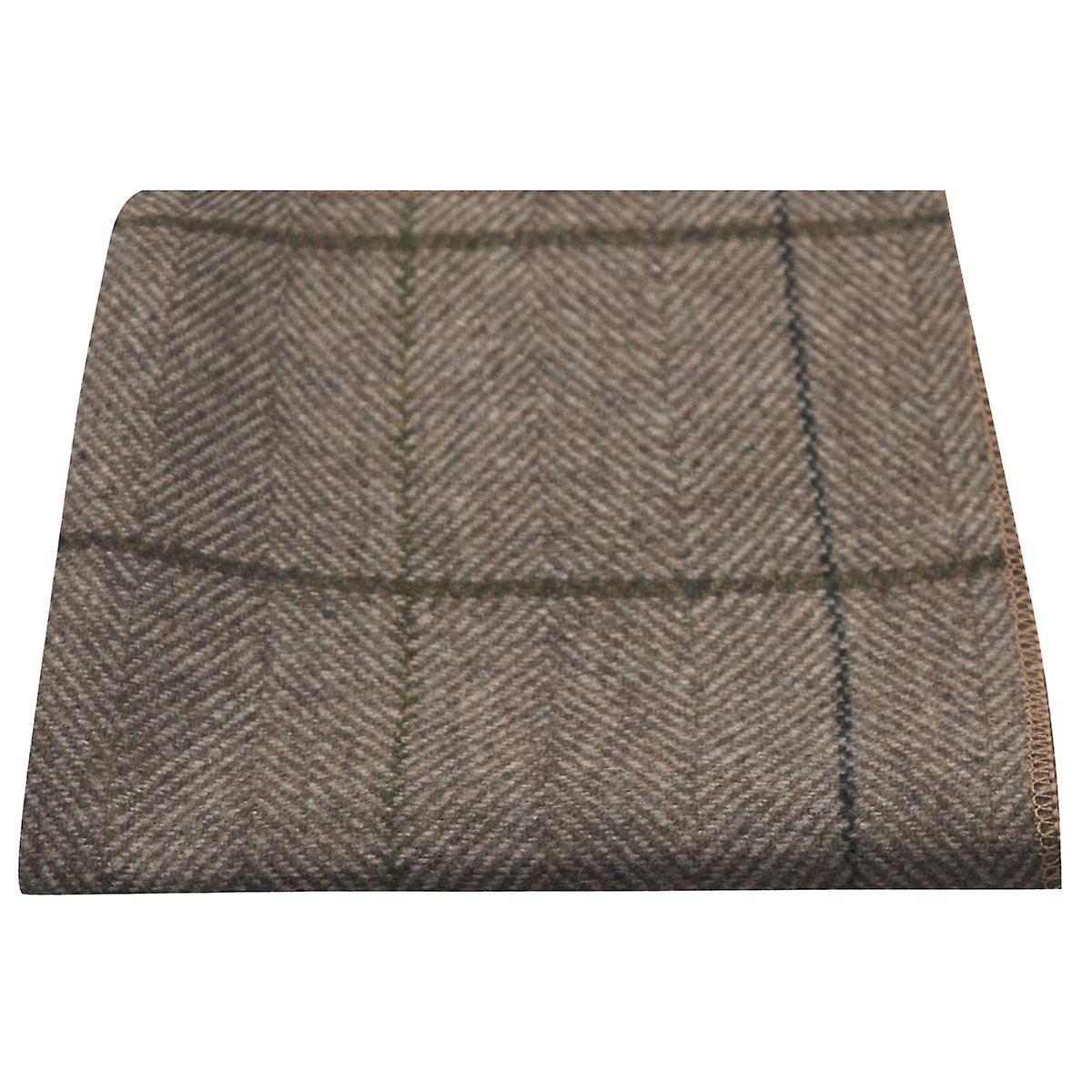 Luxury Peanut Brown Herringbone Check Pocket Square, Handkerchief, Tweed